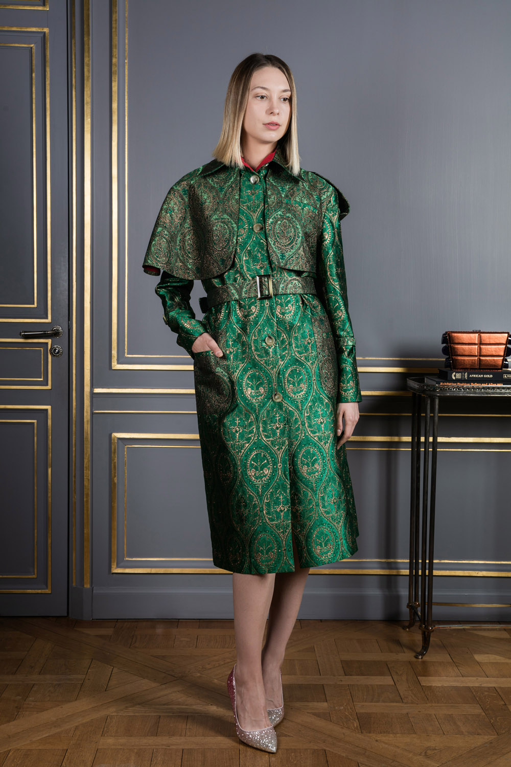 Green with gold embroidery midi coat