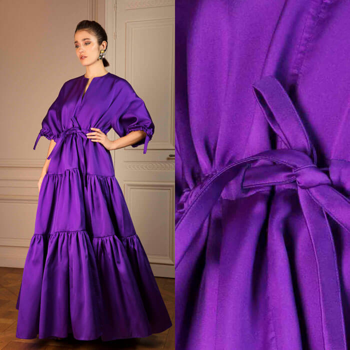 Full-length tie-waist satin dress