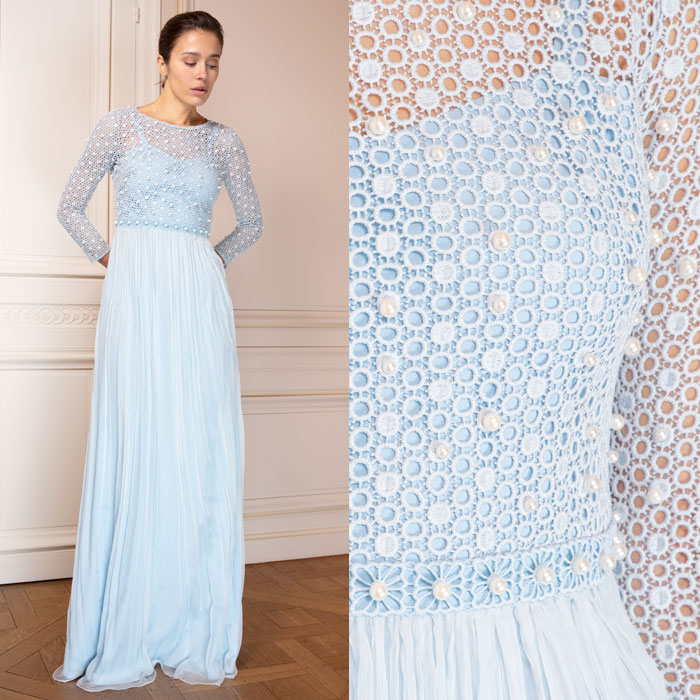 Sky-blue floor length gown with pearl-embellished openwork bodice and sleeves