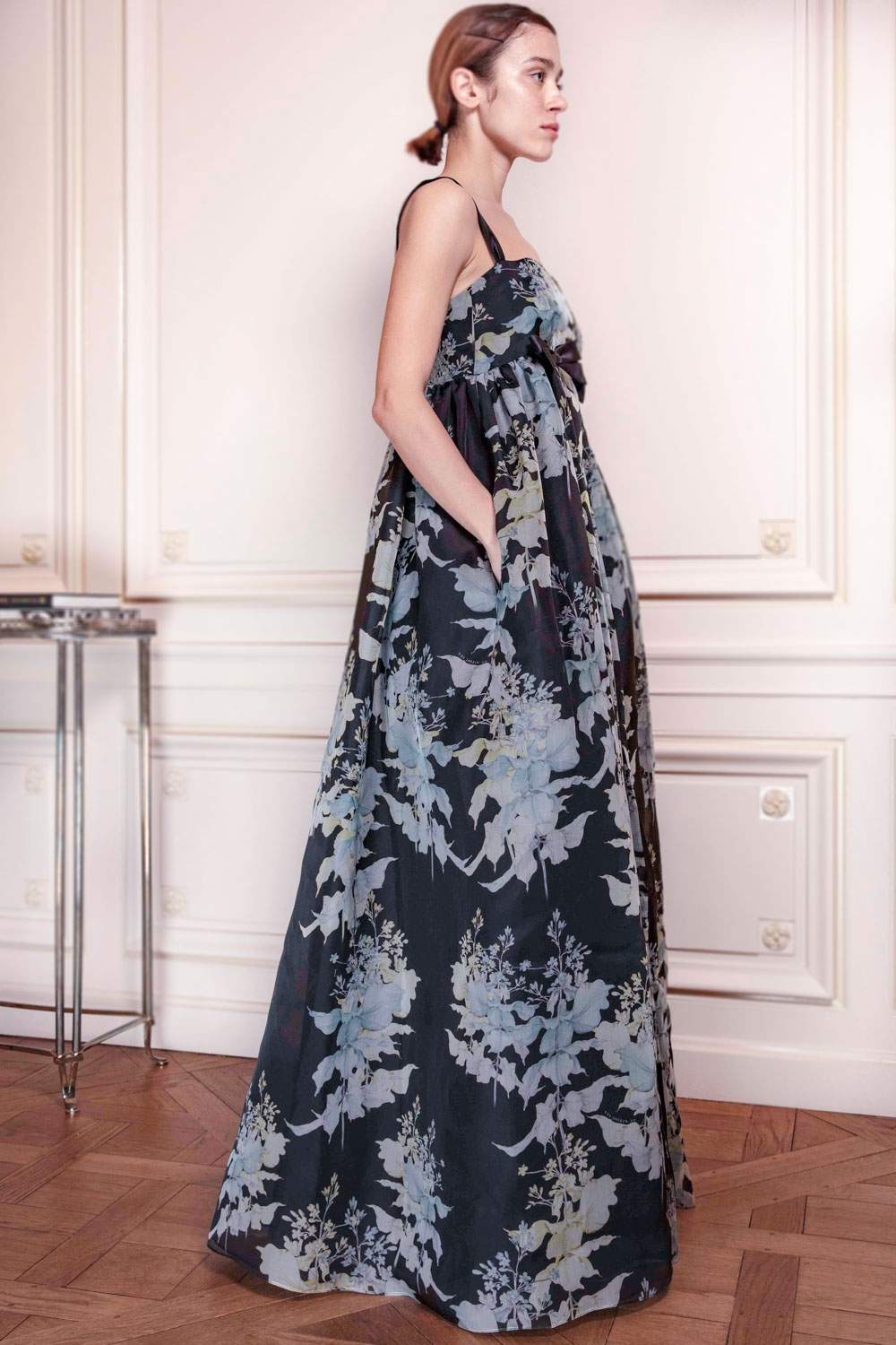 Print organza floor length gown