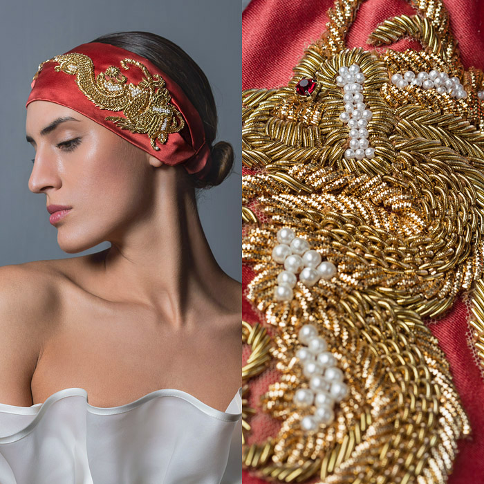 CORAIL SATIN HEAD BAND WITH BEAUTIFUL GOLD EMBROIDERED AND PEARL EMBELLISHED DRAGON