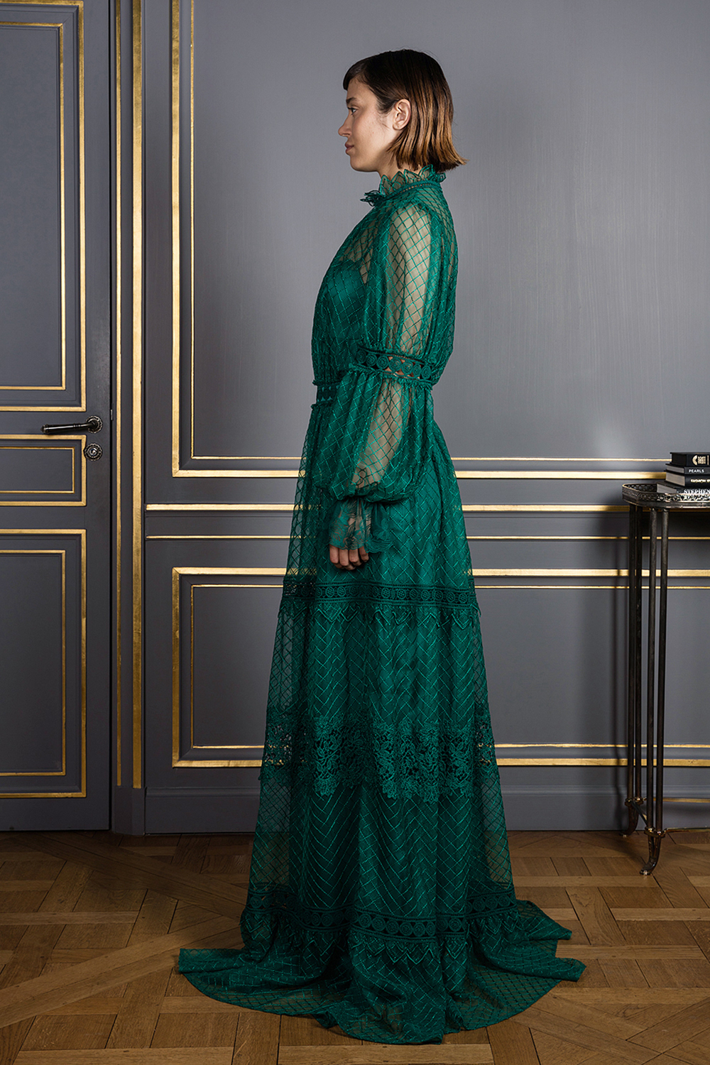 Floor-length green dress