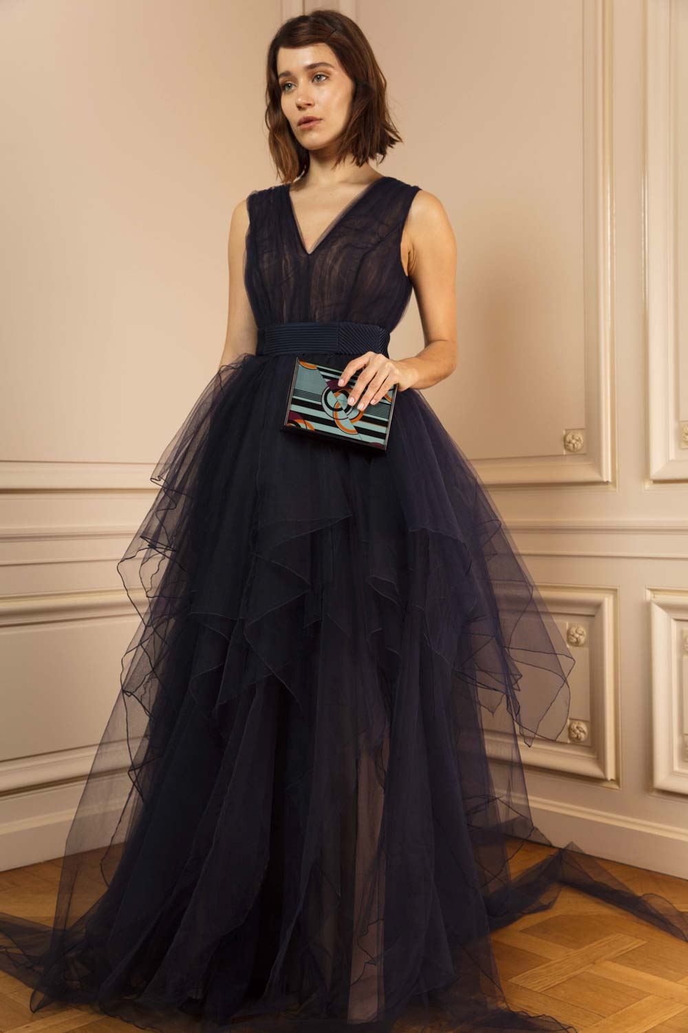 Multi-tiered gown in midnight blue tulle