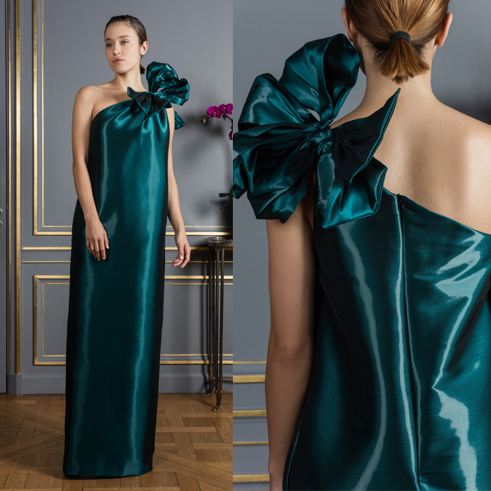 Metallic teal 1-shoulder maxi dress