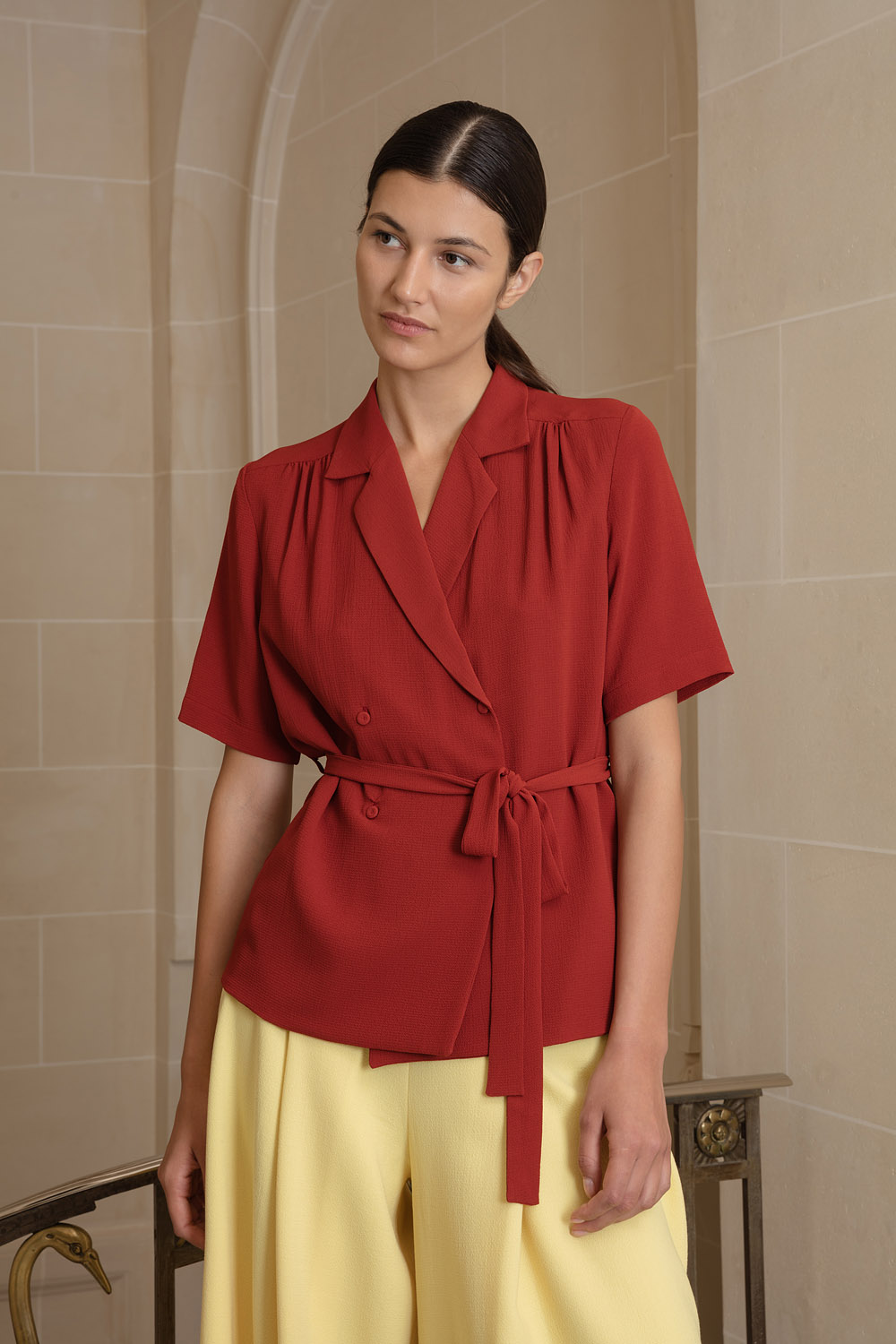 Terracotta blouse with robe-style belt