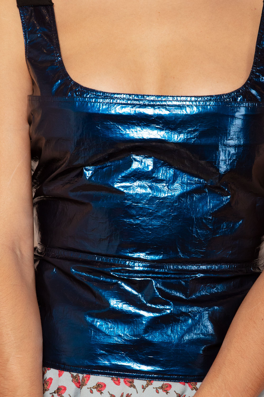 Metallic blue sleeveless top in